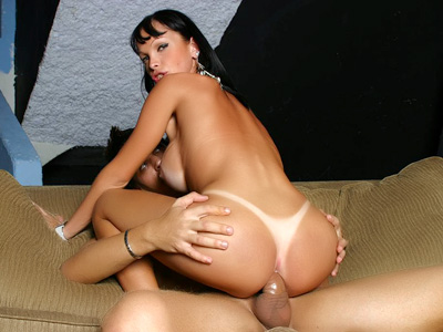Nasty Tranny Grinds on a Cock